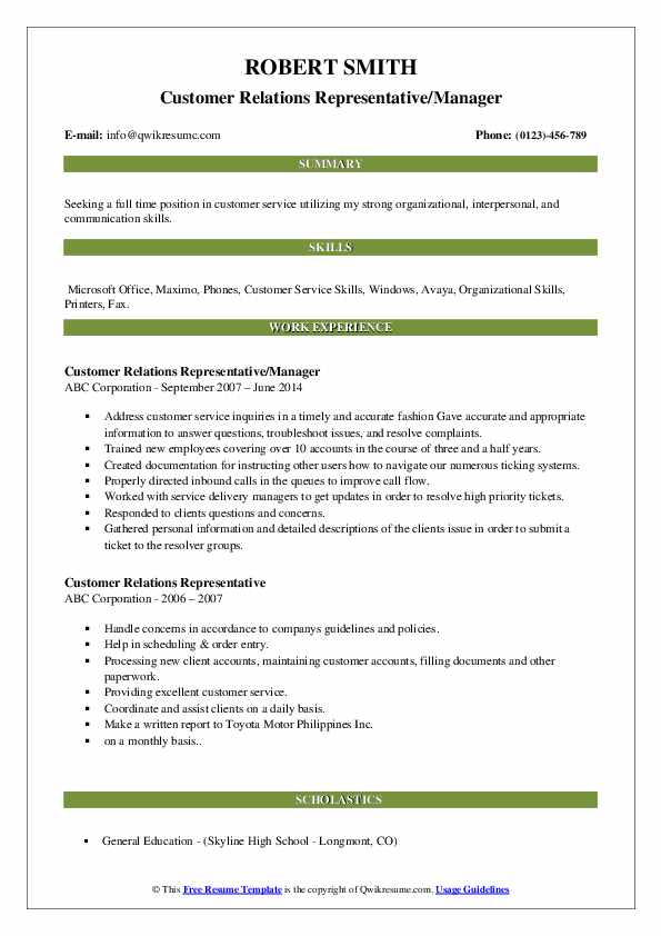Customer Relations Representative/Manager Resume Format