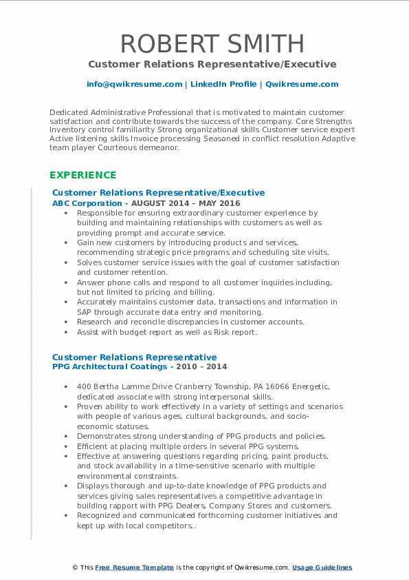 Customer Relations Representative/Executive Resume Model
