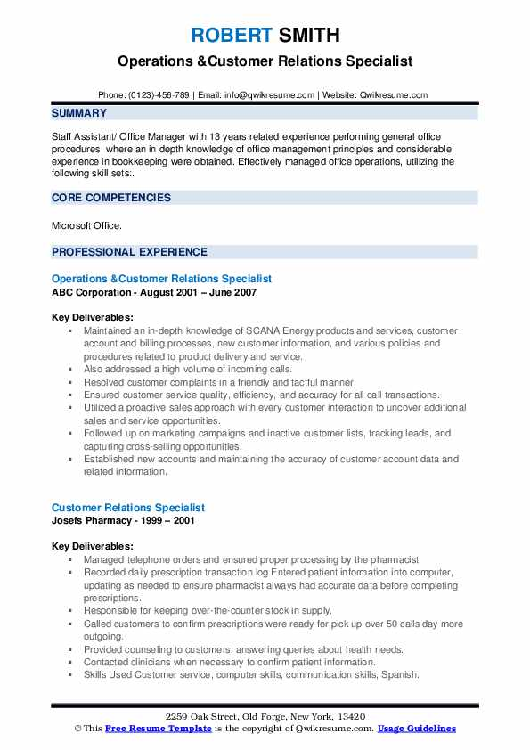 Operations &Customer Relations Specialist Resume Model
