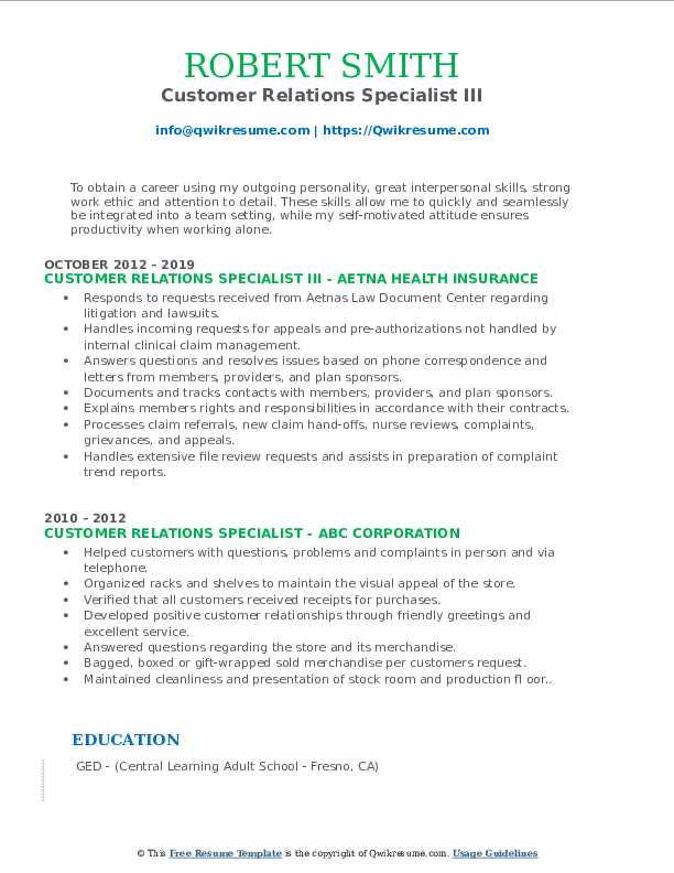 Customer Relations Specialist III Resume Format