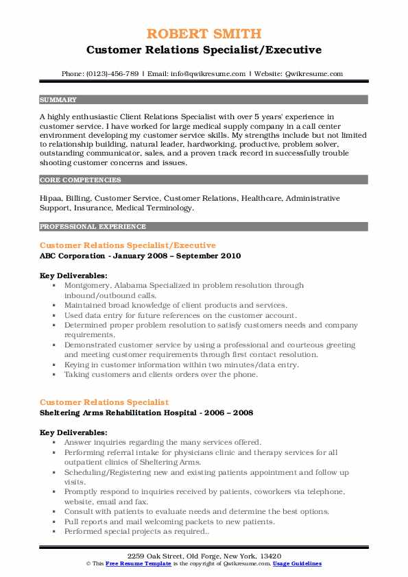 Customer Relations Specialist/Executive Resume Template