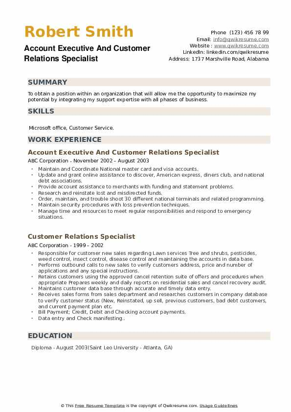 Account Executive And Customer Relations Specialist Resume Template