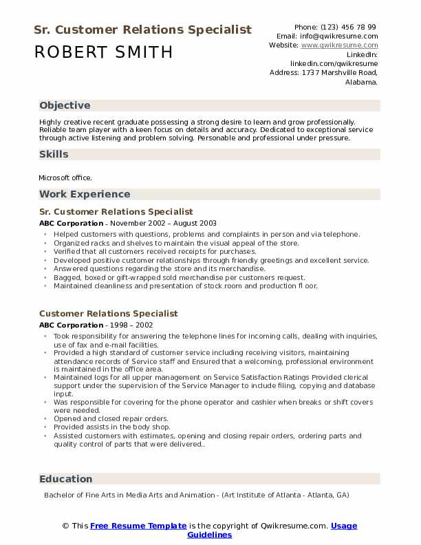 Sr. Customer Relations Specialist Resume Model