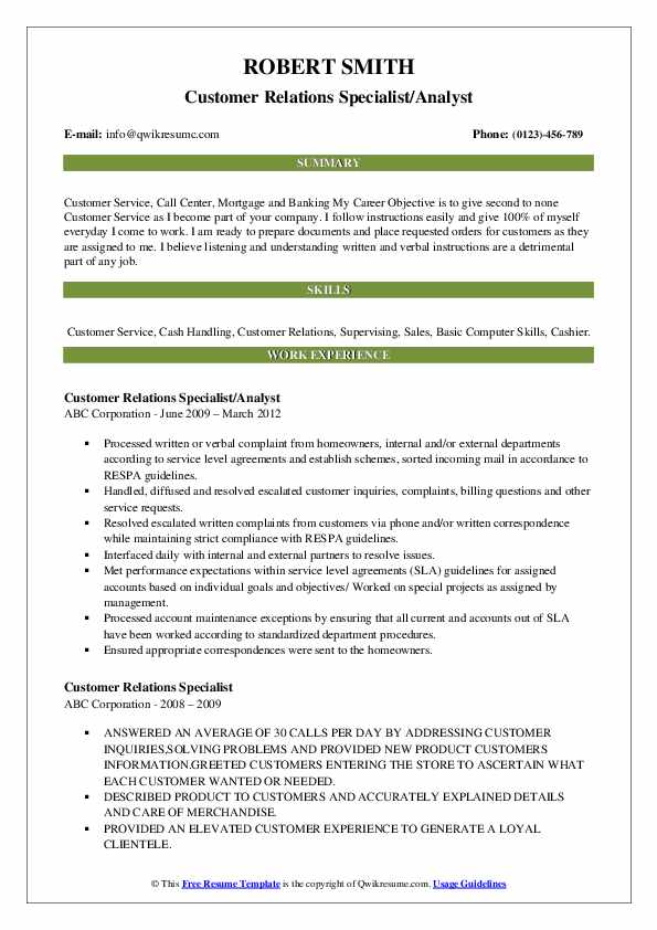 customer relations specialist resume samples