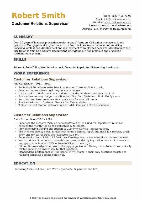 Customer Relations Supervisor Resume example