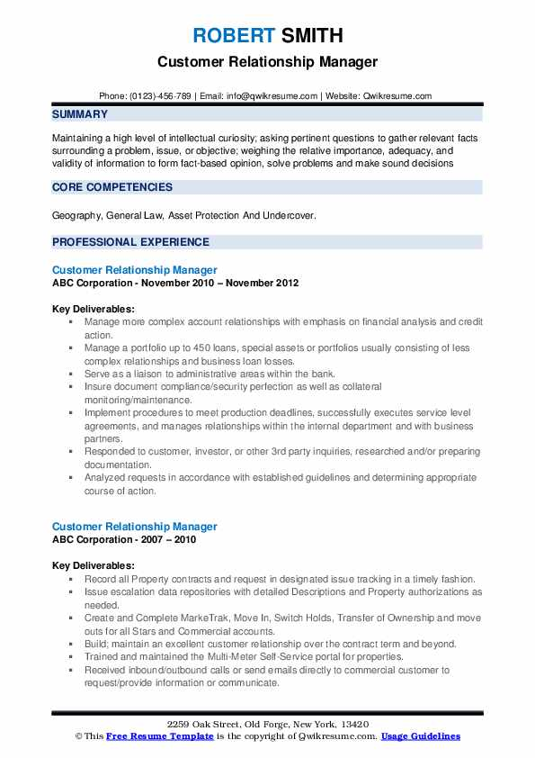 Customer Relationship Manager Resume example