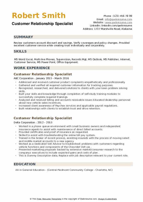 Customer Relationship Specialist Resume example