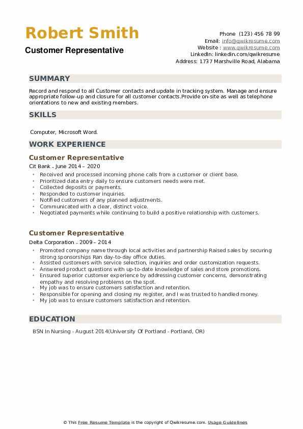 Customer Representative Resume example
