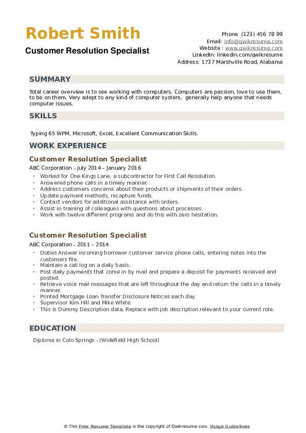 Customer Resolution Specialist Resume example