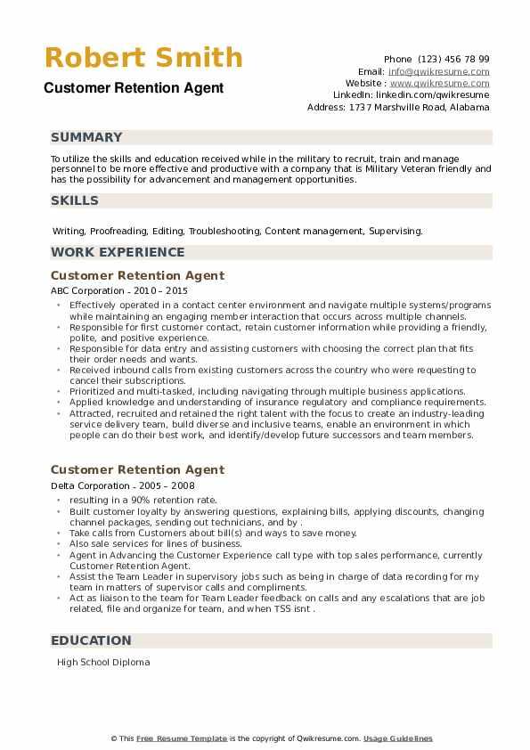 Customer Retention Agent Resume example