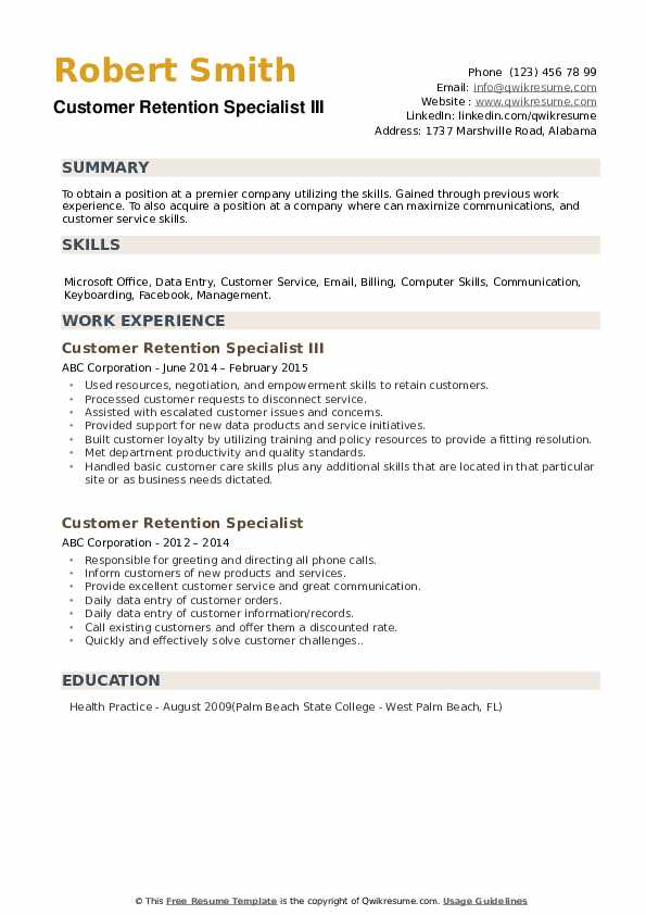 Customer Retention Specialist Resume example
