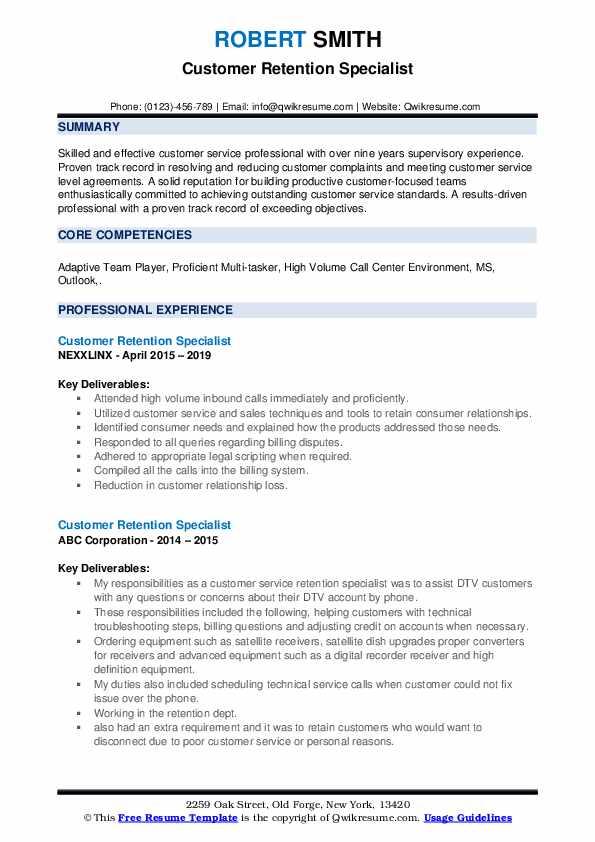 Customer Retention Specialist Resume example