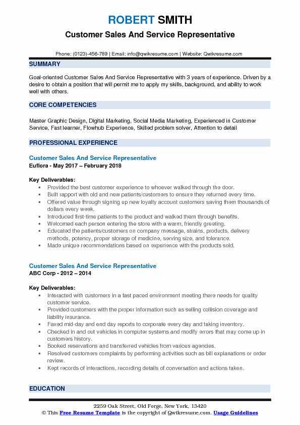 Customer Sales And Service Representative Resume Model