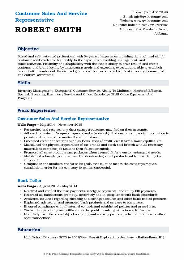 Customer Sales And Service Representative Resume Example