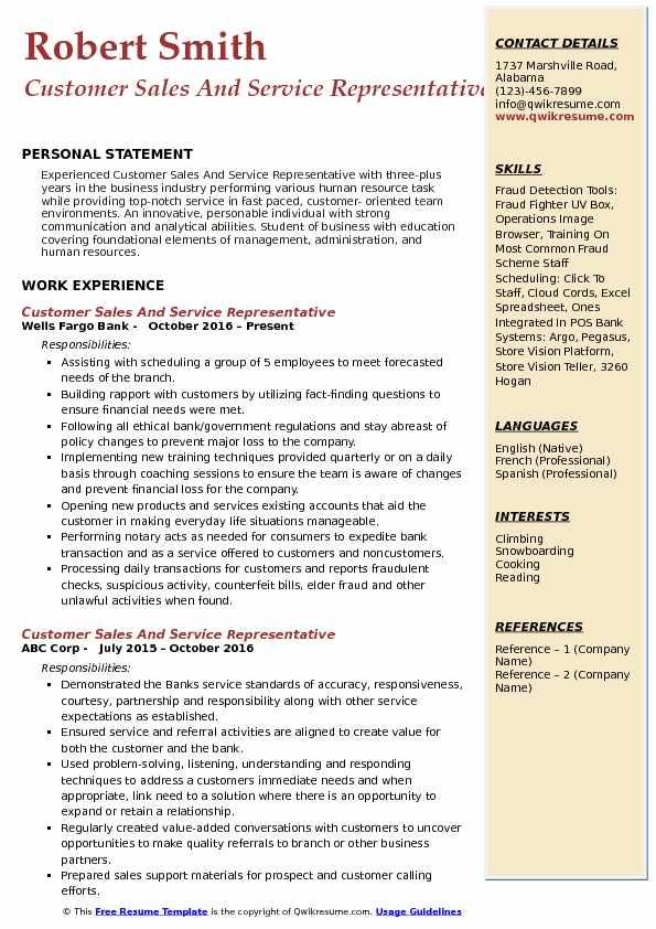Customer Sales And Service Representative Resume Template