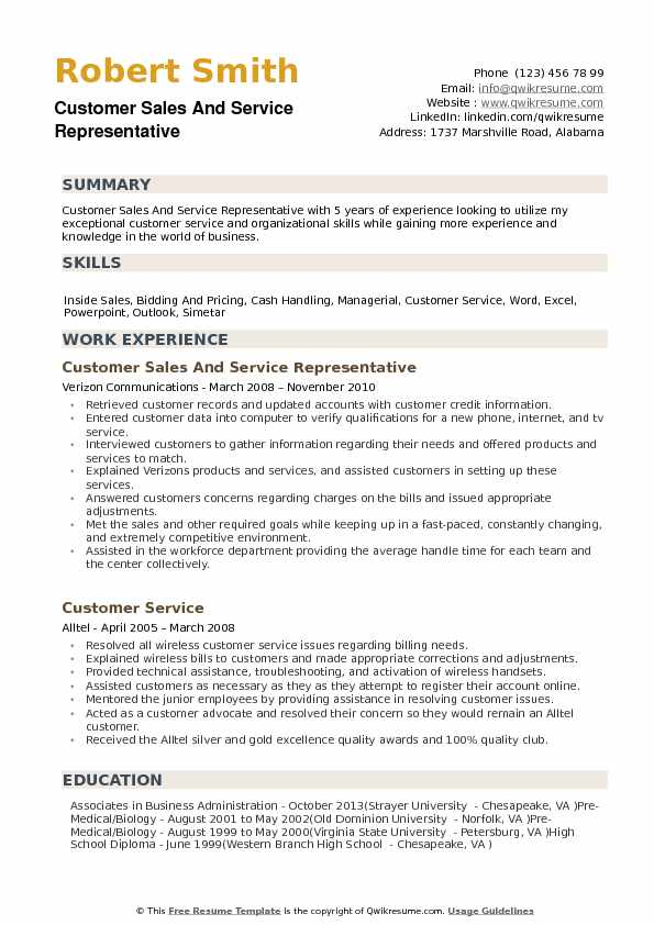 Customer Sales and Service Representative Resume example