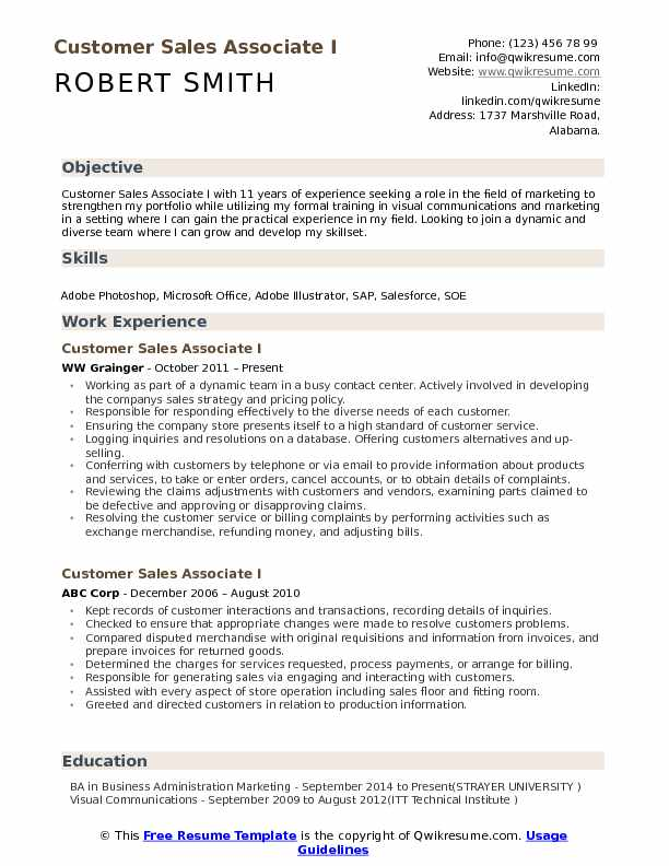 Customer Sales Associate I Resume Sample