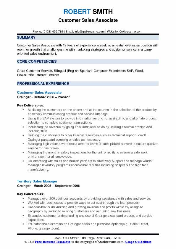 Customer Sales Associate Resume Format
