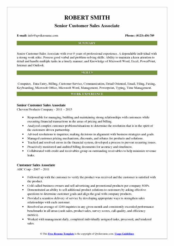 Senior Customer Sales Associate Resume Format