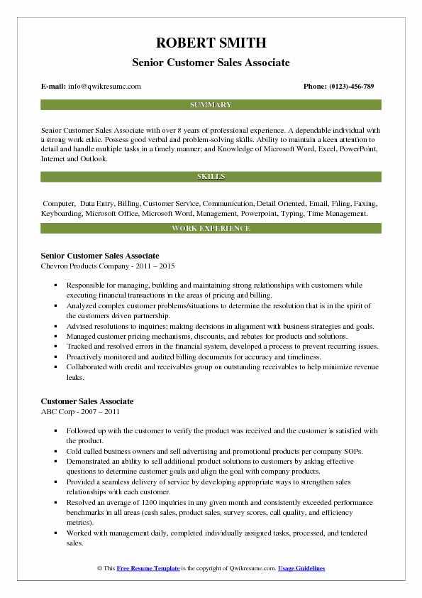Senior Customer Sales Associate Resume Template