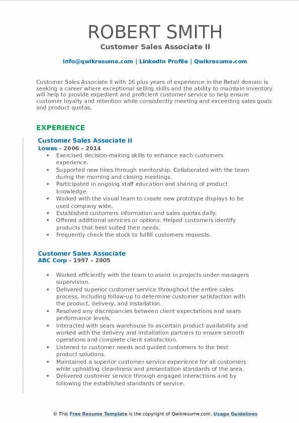 Customer Sales Associate II Resume Sample
