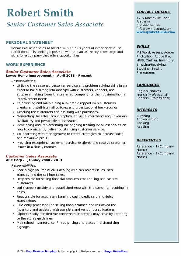 Senior Customer Sales Associate Resume Format