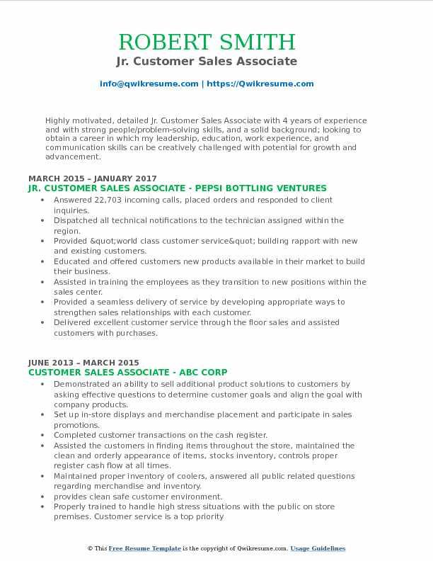 Jr. Customer Sales Associate Resume Model
