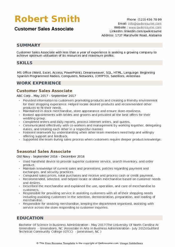 Customer Sales Associate Resume Samples