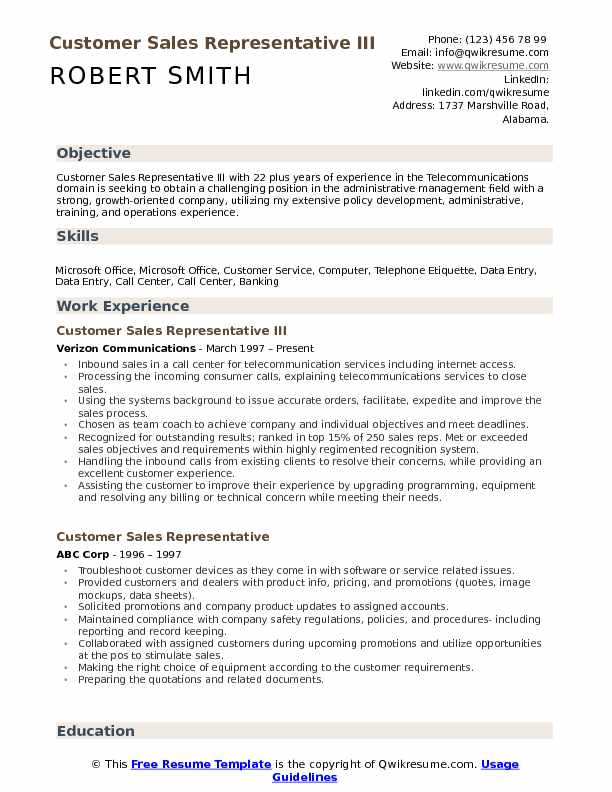 Customer Sales Representative III Resume Template