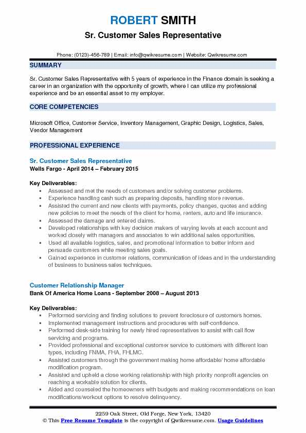 customer sales representative resume samples qwikresume