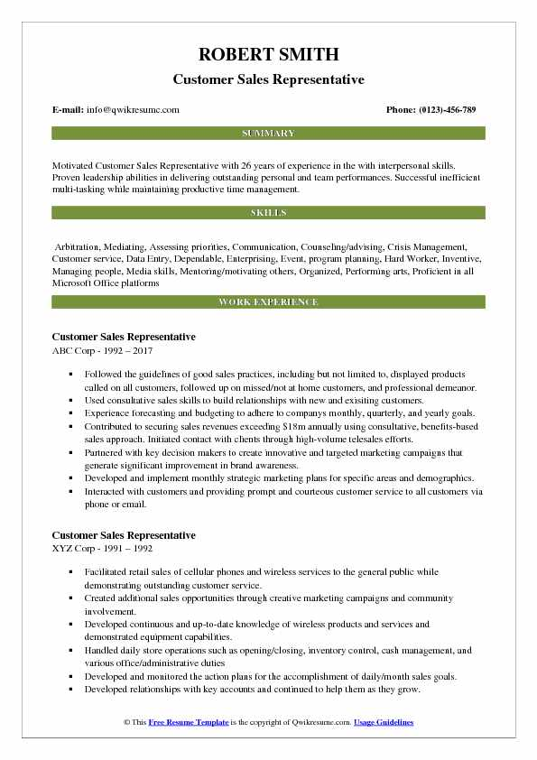 Customer Sales Representative Resume Example