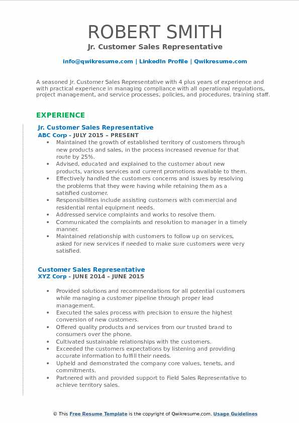 Jr. Customer Sales Representative Resume Model