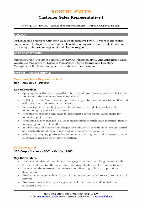 Customer Sales Representative Resume Samples | QwikResume