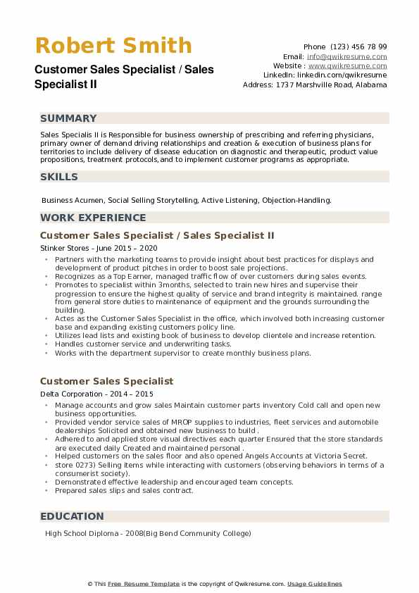 Customer Sales Specialist Resume example