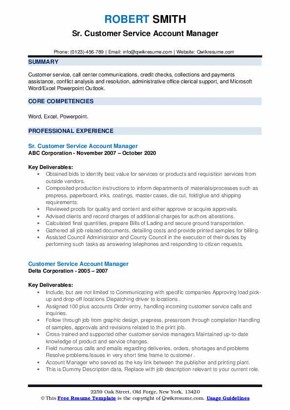 customer service account manager resume samples  qwikresume