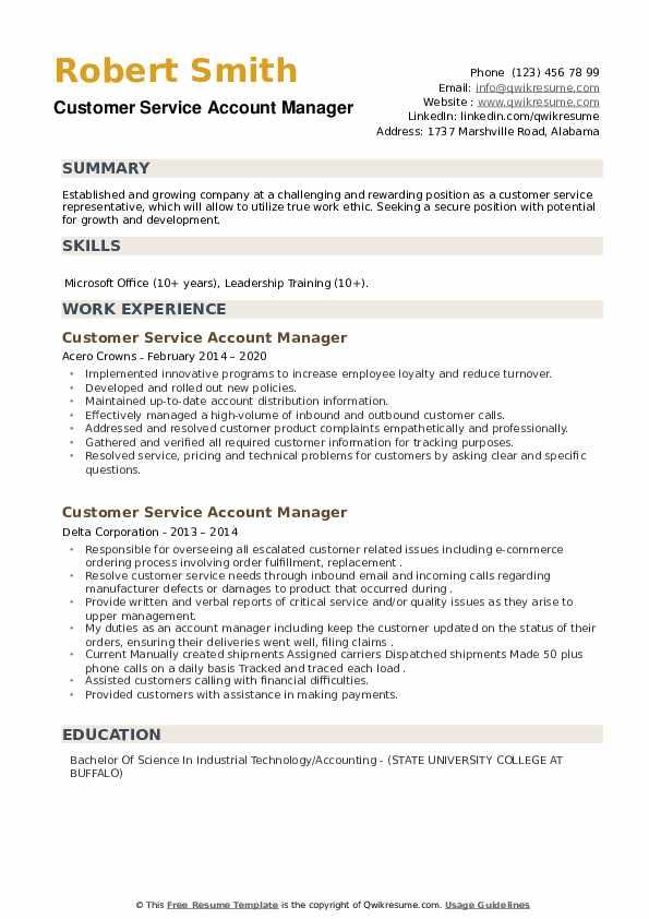 Customer Service Account Manager Resume example
