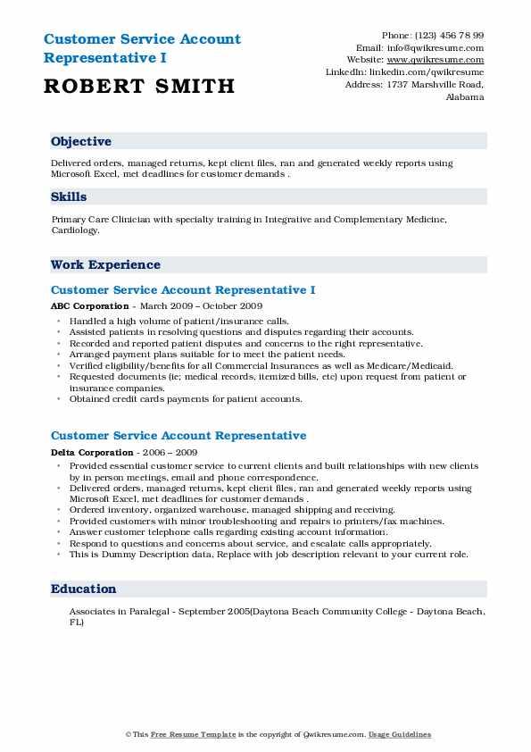 customer service account representative resume samples