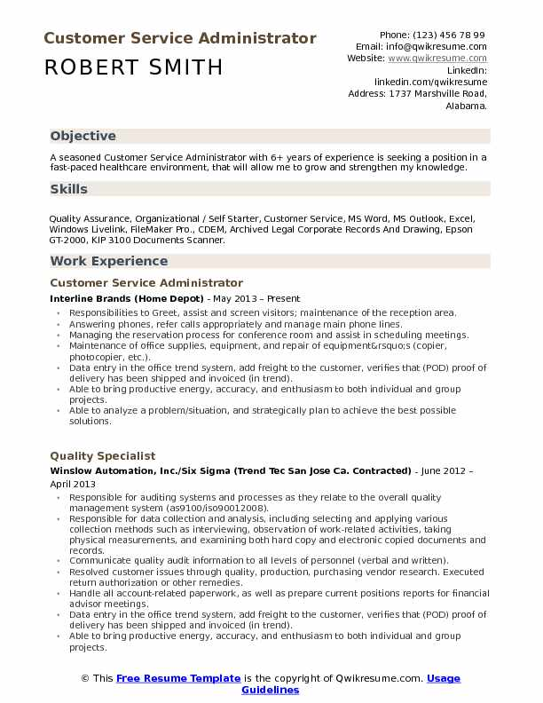 Customer Service Administrator Resume Samples Qwikresume