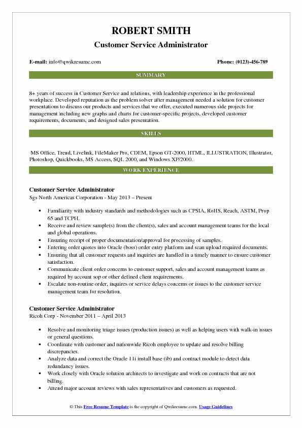 Customer Service Administrator Resume Format