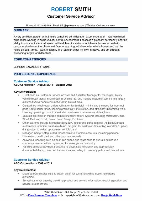Customer Service Advisor Resume Template