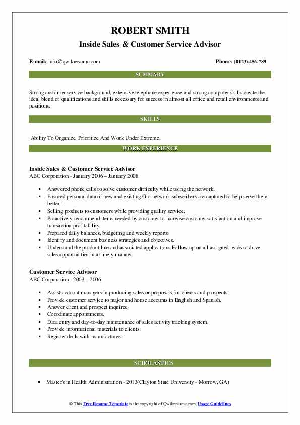 Inside Sales & Customer Service Advisor Resume Sample
