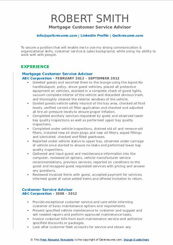 Mortgage Customer Service Advisor Resume Template