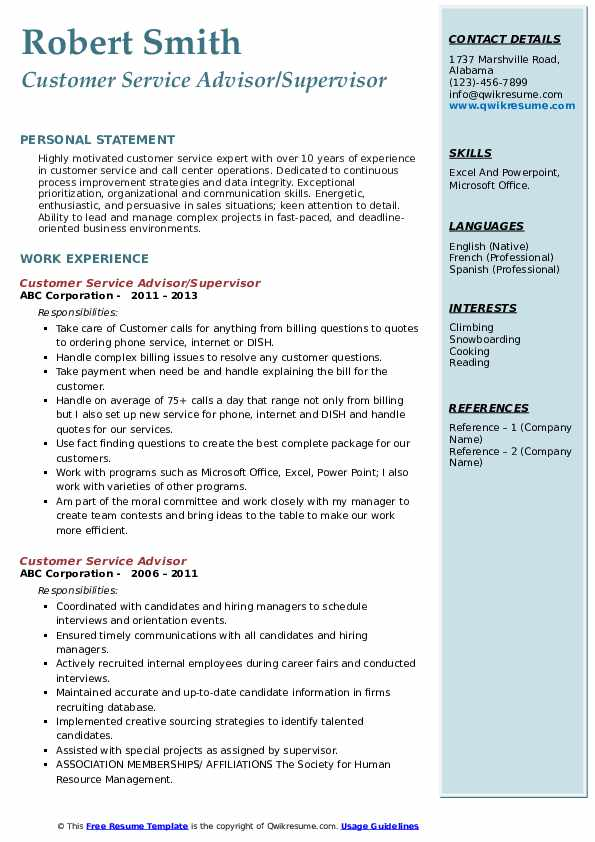 Customer Service Advisor/Supervisor Resume Sample