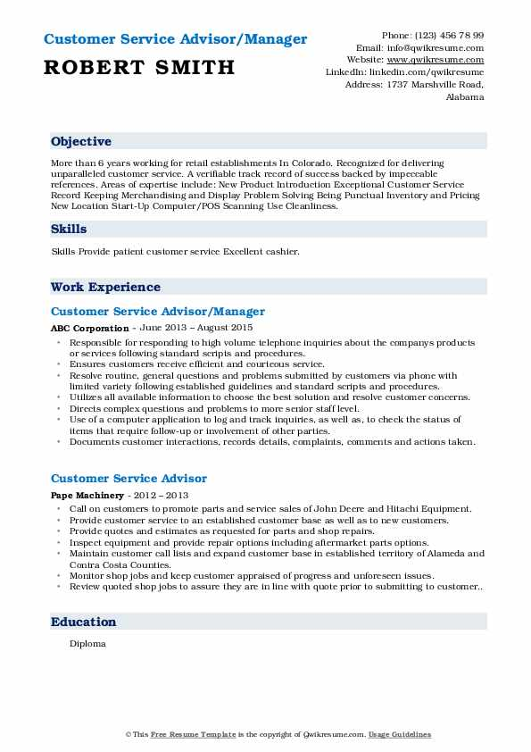 Customer Service Advisor/Manager Resume Template