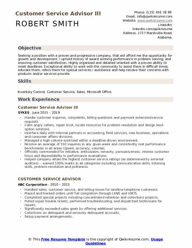 Customer Service Advisor III Resume Sample