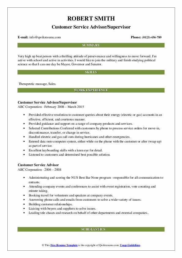 Customer Service Advisor/Supervisor Resume Example