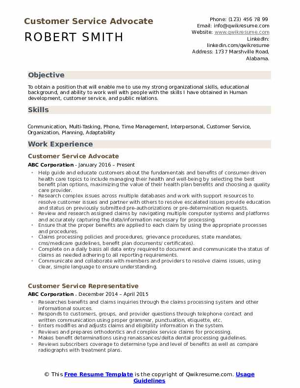 Customer Service Advocate Resume Template