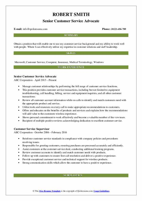 Senior Customer Service Advocate Resume Format