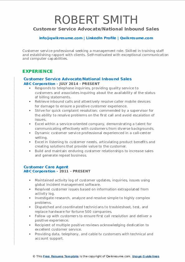 Customer Service Advocate/National Inbound Sales Resume Template