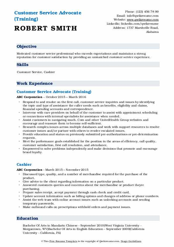 Customer Service Advocate (Training) Resume Sample